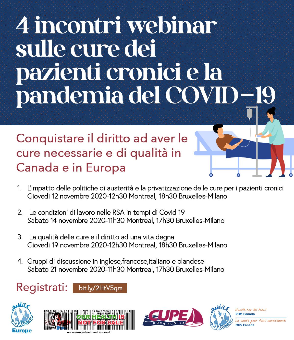 4 incontri webinar sulle cure dei pazienti cronici e la pandemia del COVID-19 in Europa e in Canada 12-14-19-21 novembre